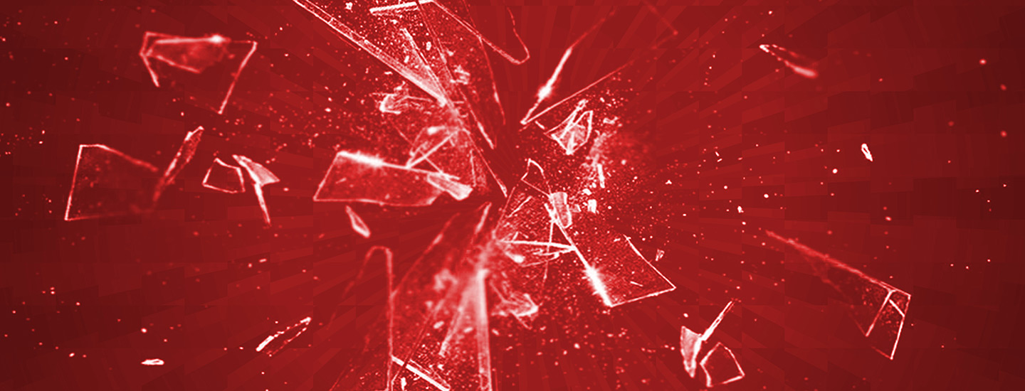 Broken glass representing fear or anxiety
