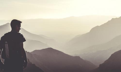 Man on a mountain hike